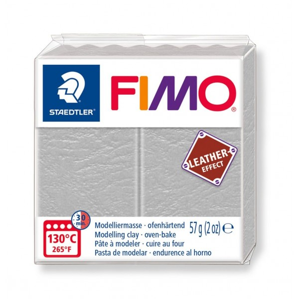 Polimērmāls FIMO Leather-Effect, pelēks 809
