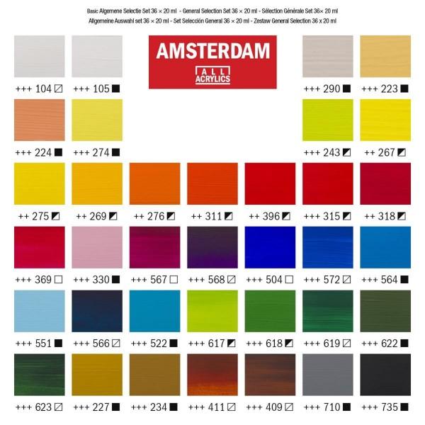 Akrila krāsu komplekts Amsterdam, 36 krāsas, 20ml