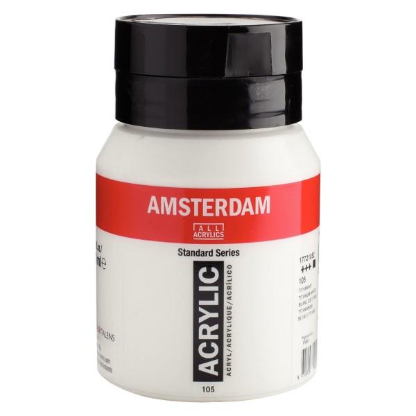 Akrila Krāsa Amsterdam Titanium  White 105 ; 500 ml
