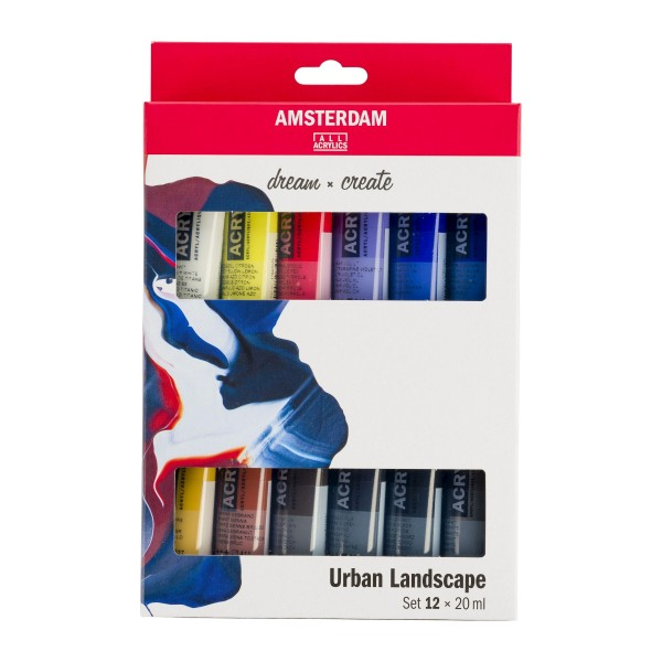 Akrila krāsu komplekts Amsterdam, 12 krāsas 20 ml, Urban Landscape