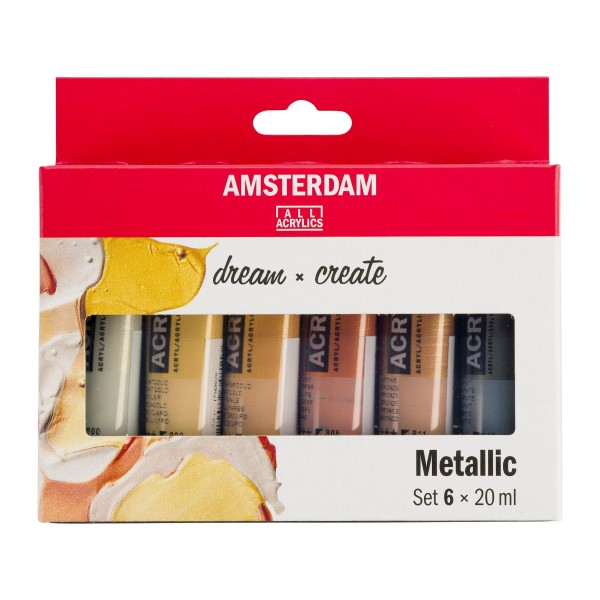 Akrila krāsu komplekts Amsterdam, 6 krāsas, 20ml Metallic