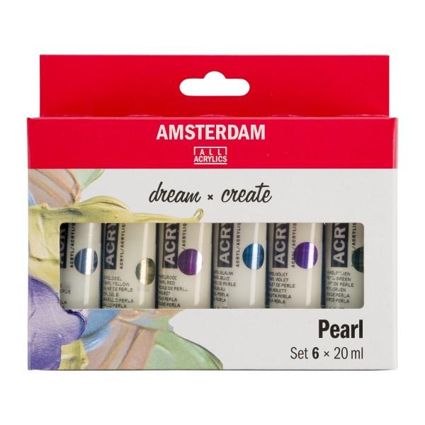 Akrila krāsu komplekts Amsterdam, 6 krāsas,  20 ml Pearl