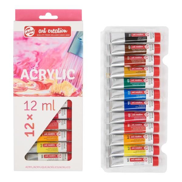 Akrila krāsu komplekts Art Creation, 12 krāsas 12 ml