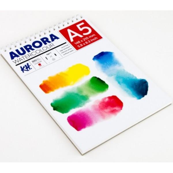 Akvareļu albums Aurora A5 ar spirāli; hot pressed