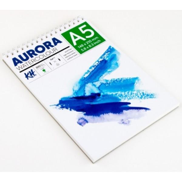 Akvareļu albums Aurora A5 ar spirāli; rough