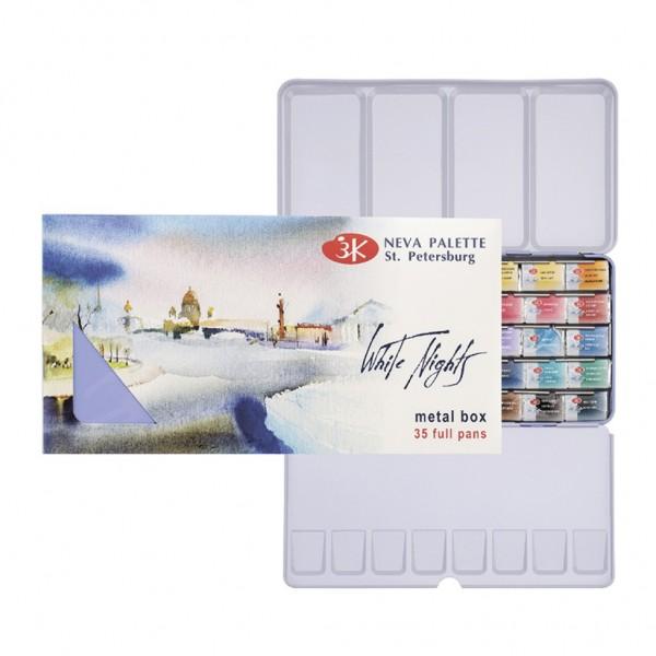 Akvareļu krāsas Baltās Nakts 35 krāsu komplekts metāla penālī