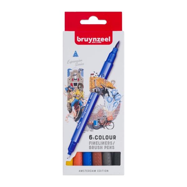 Divpusējie flomasteri Bruynzeel 6 krāsas, AMSTERDAM EDITION