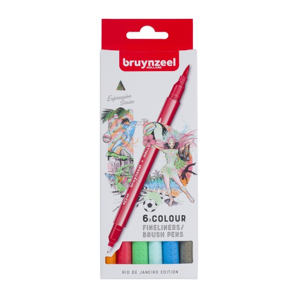 Divpusējie flomasteri Bruynzeel 6 krāsas, RIO DE JANEIRO EDITION