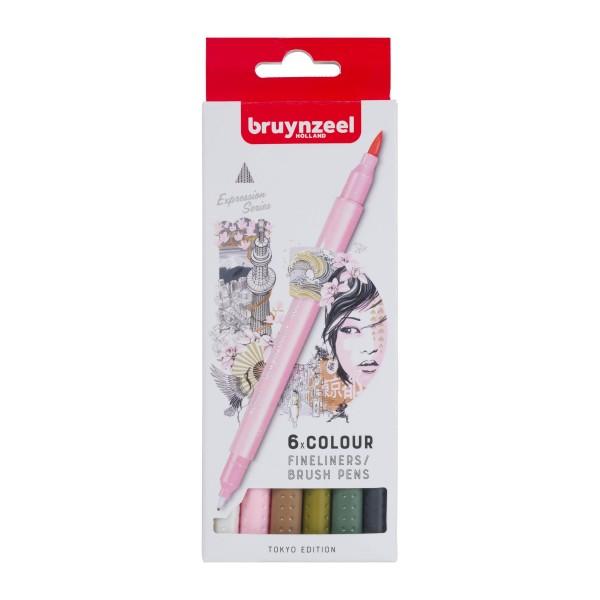 Divpusējie flomasteri Bruynzeel 6 krāsas, TOKYO  EDITION