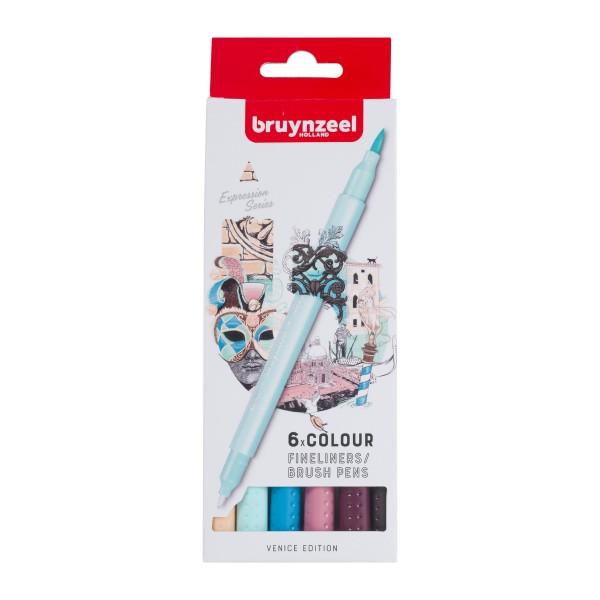 Divpusējie flomasteri Bruynzeel 6 krāsas, VENICE EDITION