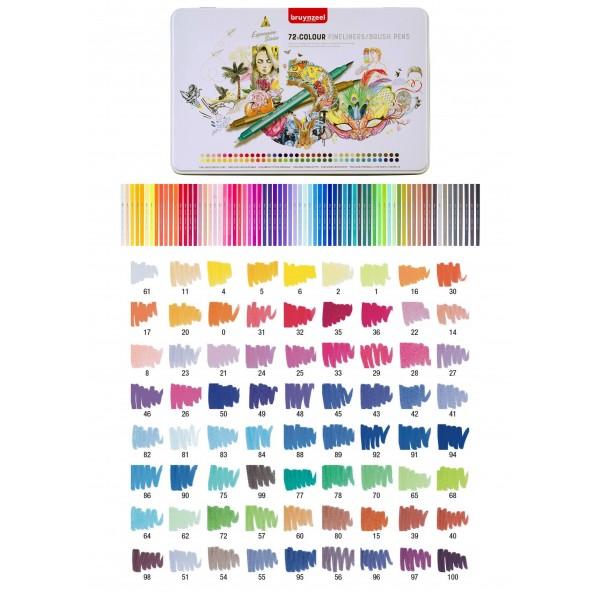 Divpusējie flomasteri Bruynzeel 72 krāsas metāla kaste