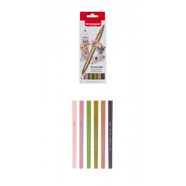 Divpusējie flomasteri Bruynzeel 6 krāsas, MARRAKESH EDITION