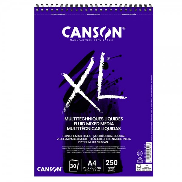 Albums Canson XL  Fluid Mixed Media A4 ar spirāli