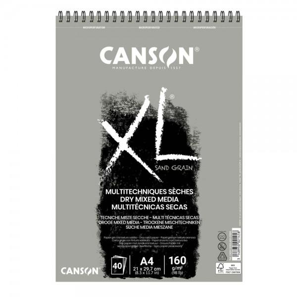 Albums Canson XL Sand Grain A4 ar spirāli ; pelēks papīrs