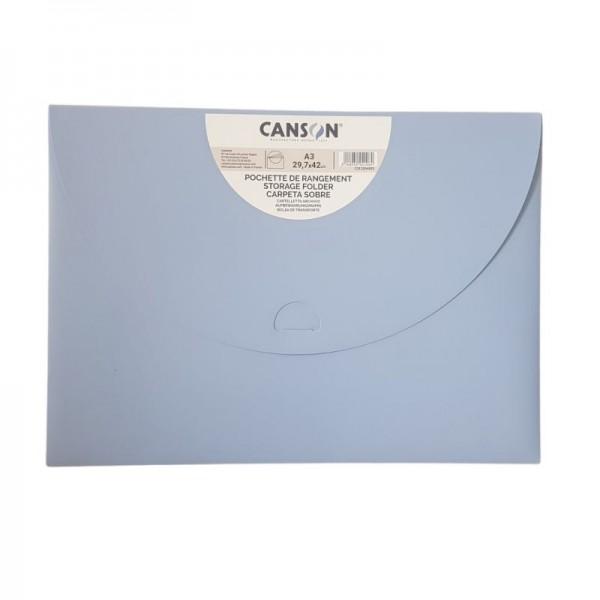 Plastmasas mape-aploksne Canson A3, pasteļu zila