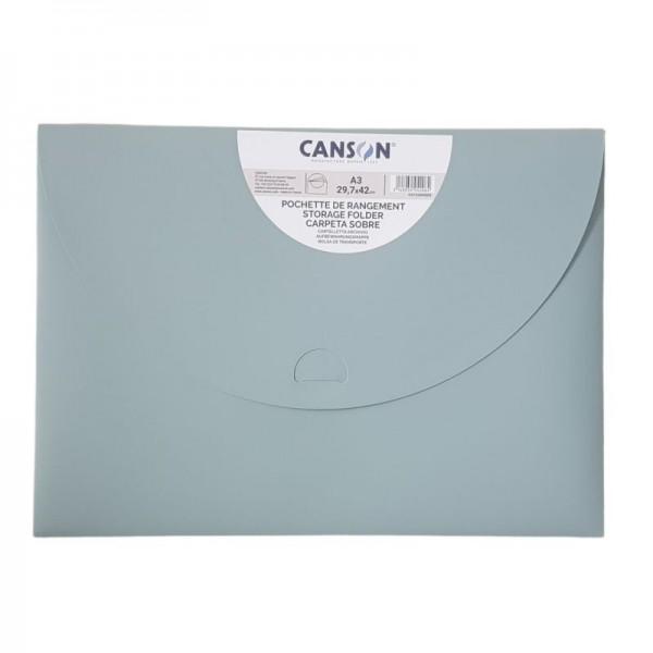 Plastmasas mape-aploksne Canson A3, pasteļu zaļa