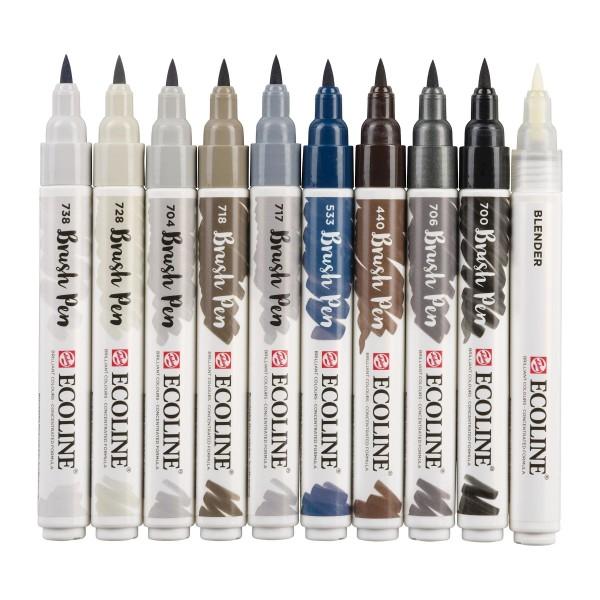 Akvareļu flomāsteri ECOLINE Brush Pen, 10 toņi Grey