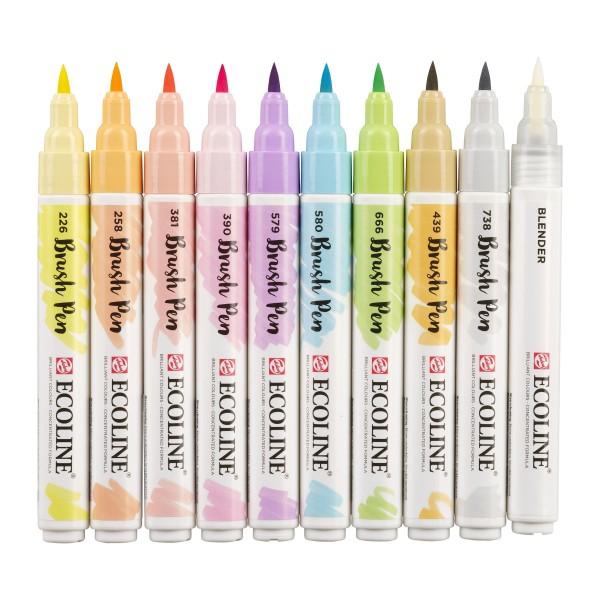 Akvareļu flomāsteri ECOLINE Brush Pen, 10 toņi Pastel