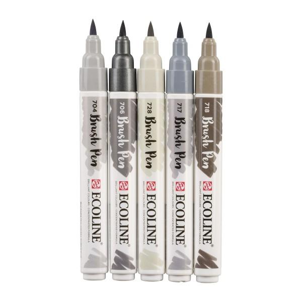 Akvareļu flomāsteri ECOLINE Brush Pen, 5 pelēkie toņi.