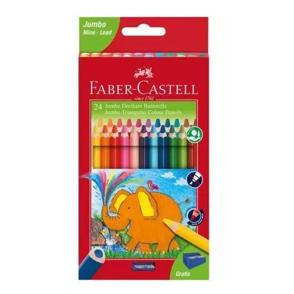 Krāsainie zīmuļi Jumbo Triangular  Faber Castell 24 krāsas + asinamais