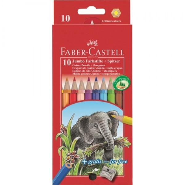 Krāsainie zīmuļi Jumbo Colour Faber Castell 10 krāsas + asinamais