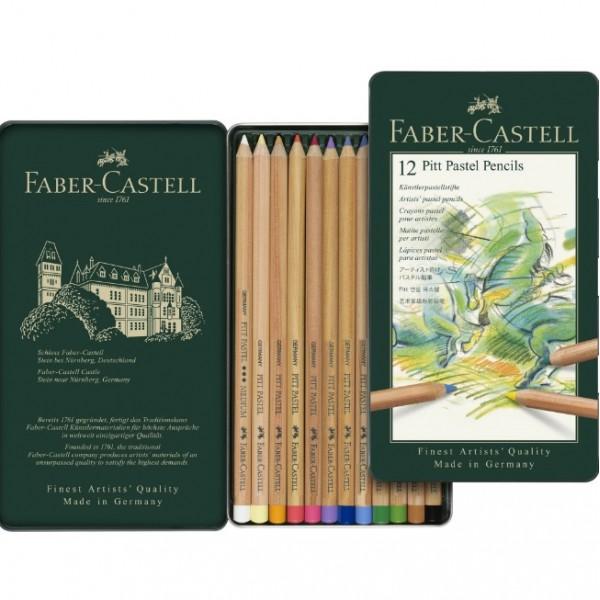 Pasteļzīmuļi Faber-Castell metāla kastē, 12 krāsas