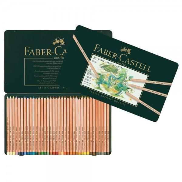 Pasteļzīmuļi Faber-Castell metāla kastē, 36 krāsas