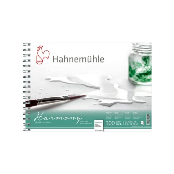 Akvareļu albums Hahnemuhle Harmony 21x29.7 cm ar spirāli  (hot pressed)