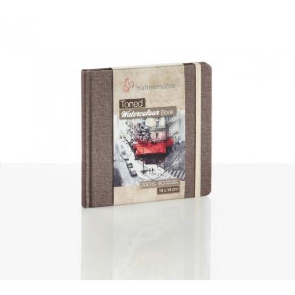 Hahnemuhle akvareļu skiči bloks ar tonēto papīru, brūns 14x14cm
