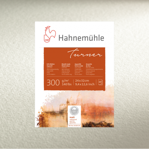 Akvareļu albums Hahnemuhle Turner 24x32, 10 lapas  300gr/m 100% kokvilna