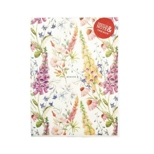 A5 Klades ar ziedu motīviem Twin Book Sketch & Note 2 gab