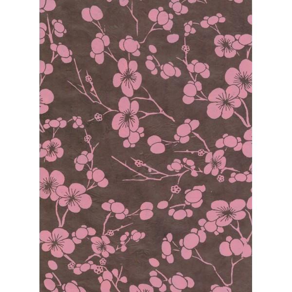 Nepālas papīrs  A4  Brūnas krāsas fons ar rozā sakuras ziediem