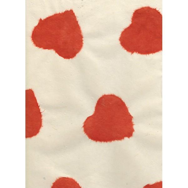 Nepālas papīrs  A4  Bēšas krāsas fons ar sarkanām sirdīm