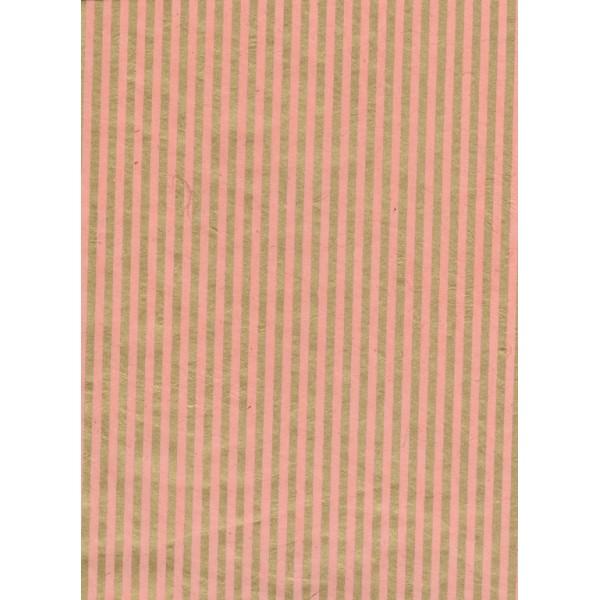 Nepālas papīrs  A4  Rozā krāsas fons ar zelta strīpām