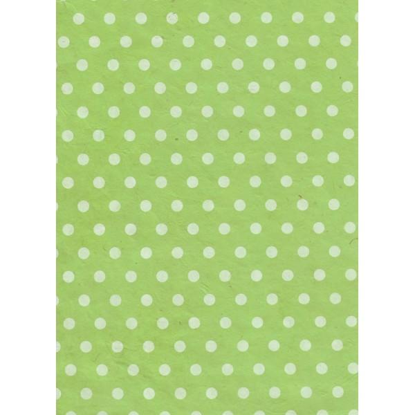 Nepālas papīrs  A4  Zaļas krāsas fons ar baltām konfeti