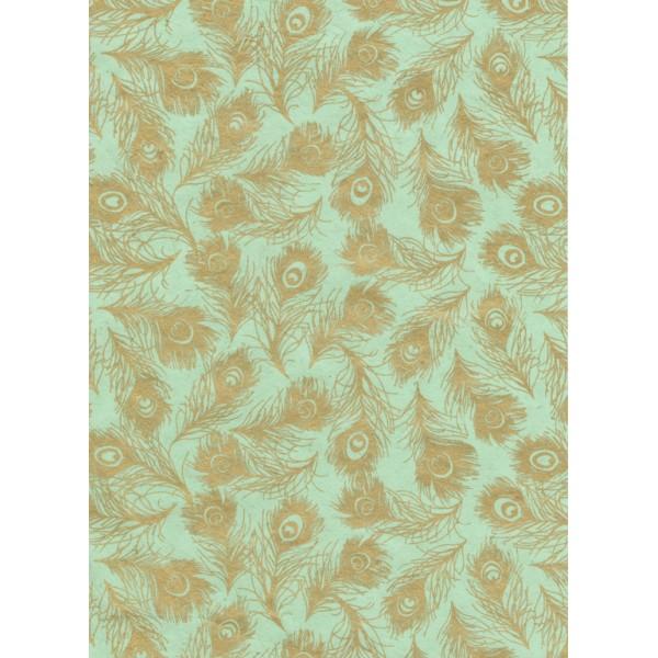 Nepālas papīrs  A4  Piparmētras krāsas fons ar zelta spalvām
