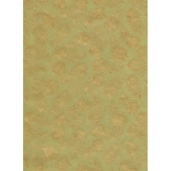 Nepālas papīrs A4 Khaki krāsas fons ar zelta spalvām