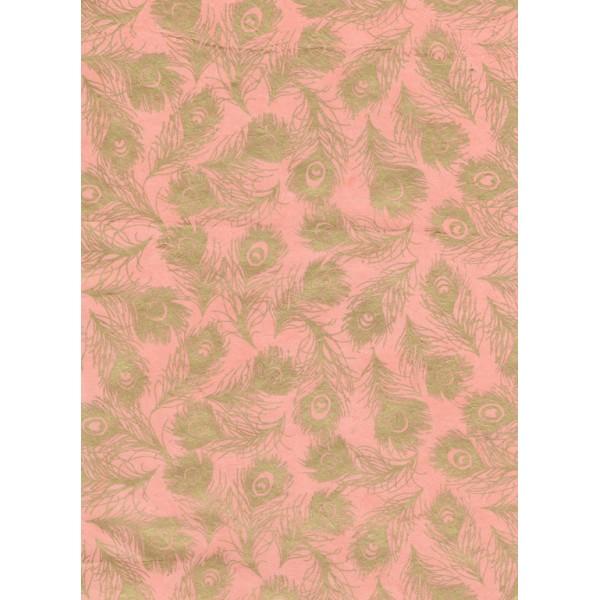 Nepālas papīrs  A4 Rozā krāsas fons ar zelta spalvām