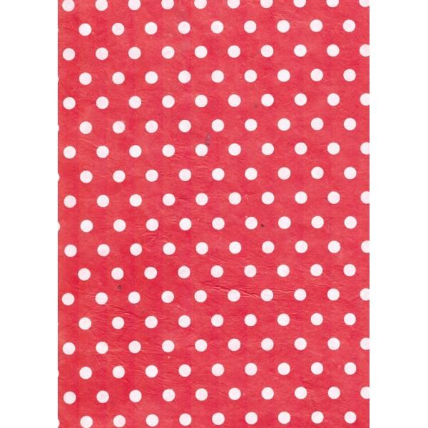 Nepālas papīrs  A4 Sarkanas krāsas fons ar baltām konfeti