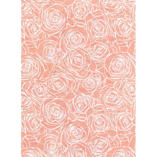 Nepālas papīrs  A4 Rozā krāsas fons ar baltām rozēm