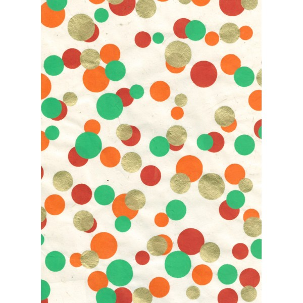 Nepālas papīrs  A4  Ar zelta, oranžiem, zaļiem, sarkaniem un piparmētras krāsas konfeti