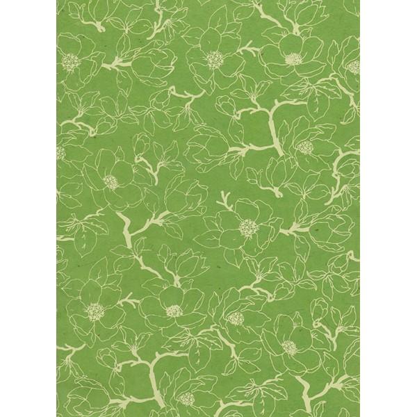 Nepālas papīrs  A4  Zaļās krāsas fons ar baltām magnolijām