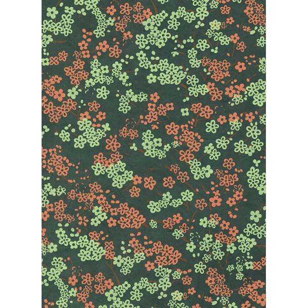 Nepālas papīrs  A4 Piparmētras un Korāļļu krāsas ziedi