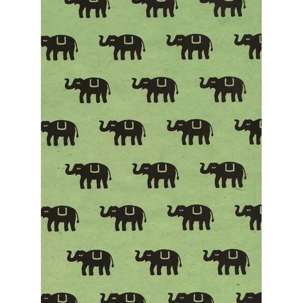 Nepālas papīrs  A4  Piparmētras krāsas fons ar melniem ziloņiem