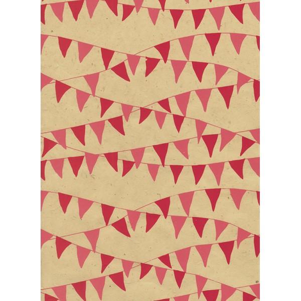 Nepālas papīrs  A4  Bēšas  krāsas fons ar rozā un sarkaniem karodziņiem