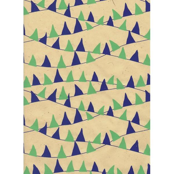 Nepālas papīrs  A4  Bēšas  krāsas fons ar ziliem un zaļiem karodziņiem