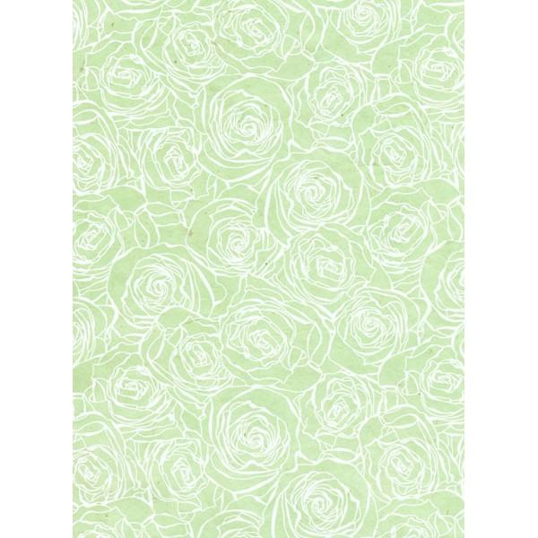 Nepālas papīrs  A4 Piparmētras krāsas fons ar baltām rozēm