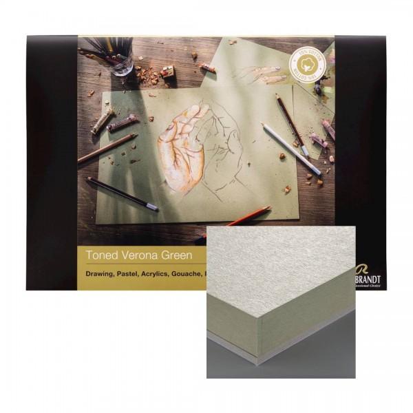 Albums Rembrandt Toned Verona Green A4- Tonēts zaļš Papīrs 15 % kokvilna