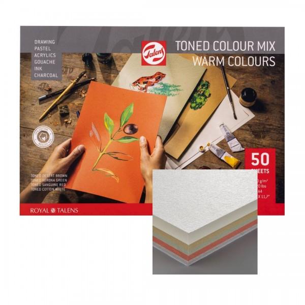 Albums A4 Royal Talens tonēts papīrs Mix siltie toņi, 15 % kokvilna