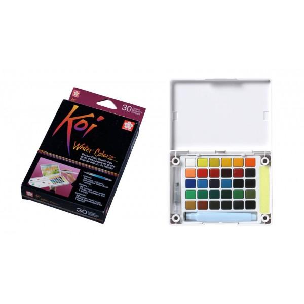 Akvareļkrāsas Koi 30  krāsas ceļojumu kastē